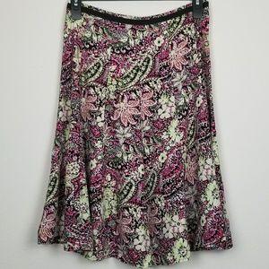 Christopher & Banks paisley floral midi skirt